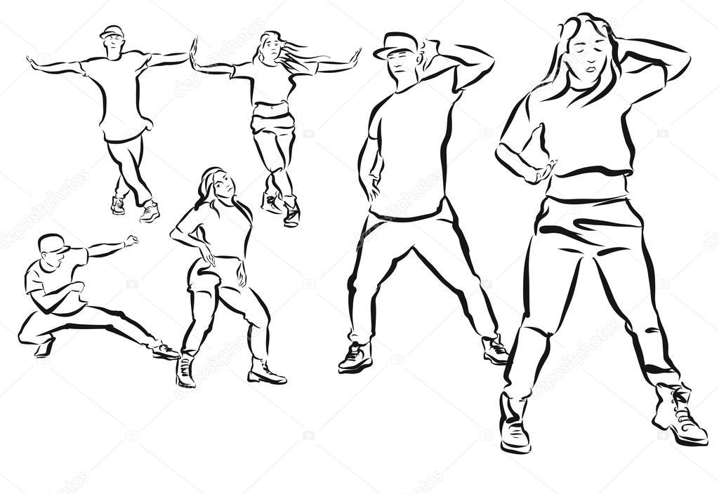 Tres Poses Duett, Hip Hop coreografía para colorear página — Archivo ...