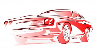 Old Muscle Car, Vector Outline Colored Sketch