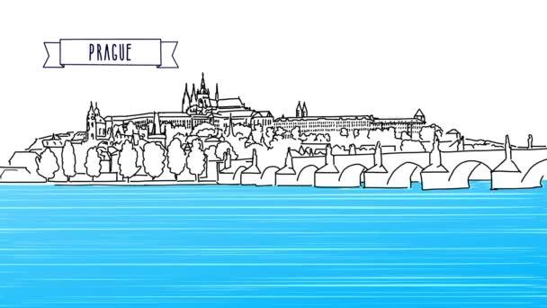 Moskevské panoráma s Kremlovi animace