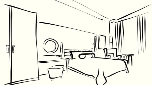 Interiér ložnice ranní osnovy nakreslil animace