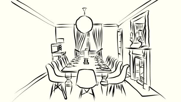 Dining Room With White Covered Table Hand Drawn Sketched Animation Stock Video