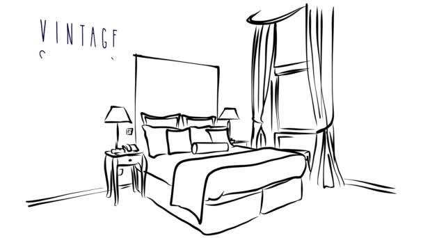 Animierter Vektor Illustration Artwork des Hotel Innenraum mit Bett