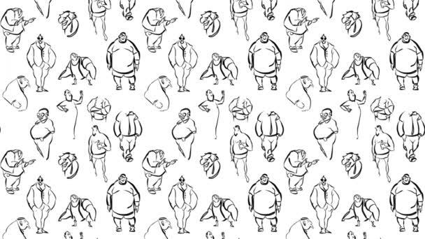 Seamless Fat Men Animatic Pattern