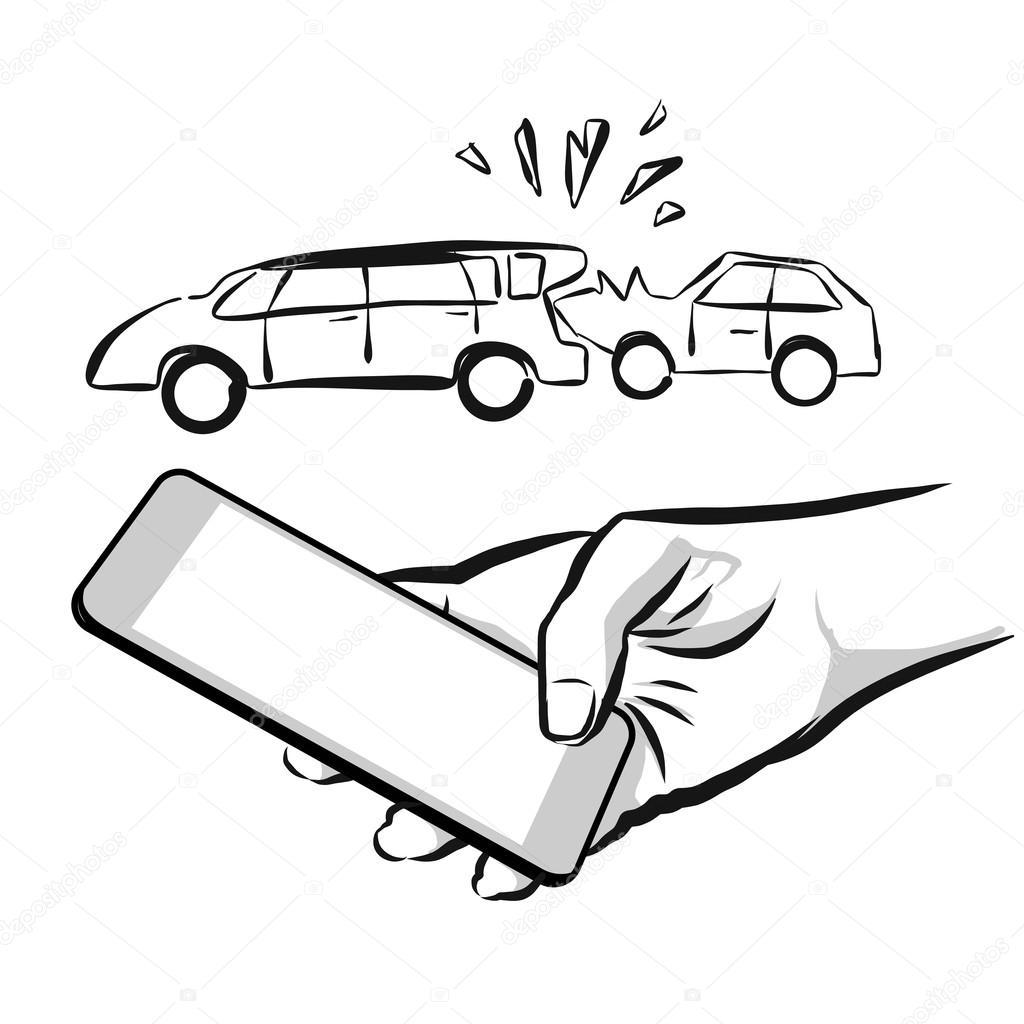 Kaputtes Auto Versicherungskonzept Skizze — Stockvektor © mail ...