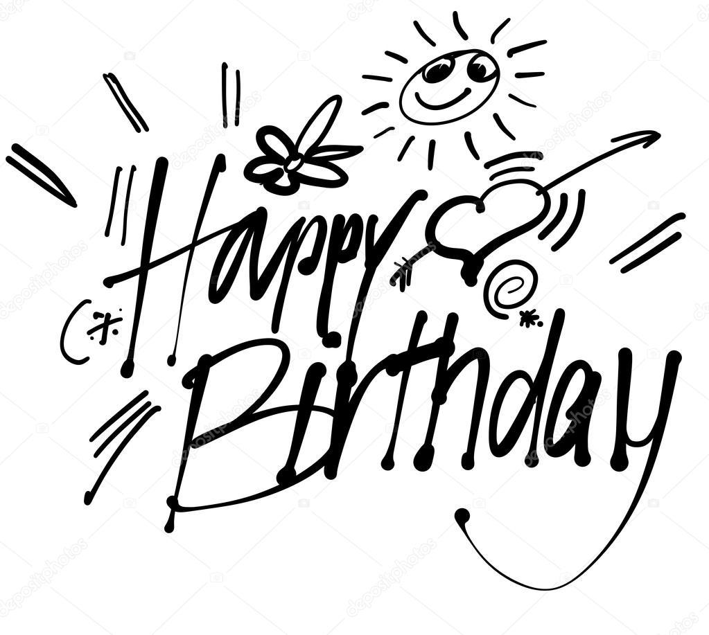 grattis mail Grattis på födelsedagen Hand bokstäver gratulationskort — Stock  grattis mail