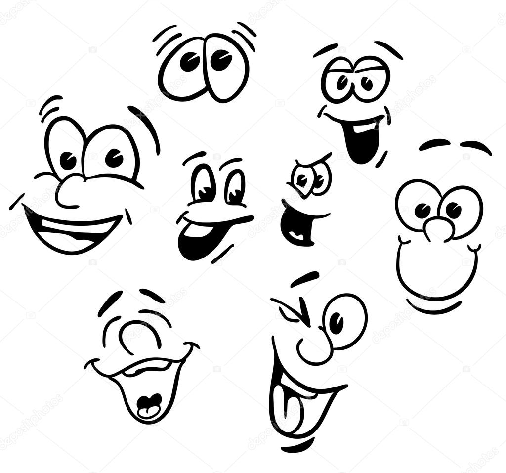 hand drawn emotional happy cartoon faces stock vector mail rh depositphotos com happy faces cartoon pics happy sad cartoon faces