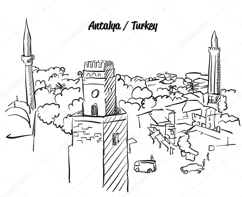 Antalya Türkiyenin Tarihi Kent Boyama Sayfası Stok Vektör Mail