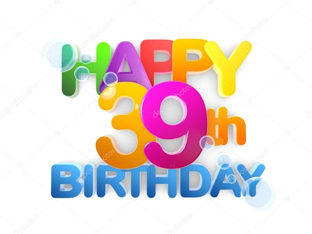 Título 39 feliz, luz de cumpleaños — Foto de Stock
