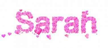 Sarah female name set with hearts type design