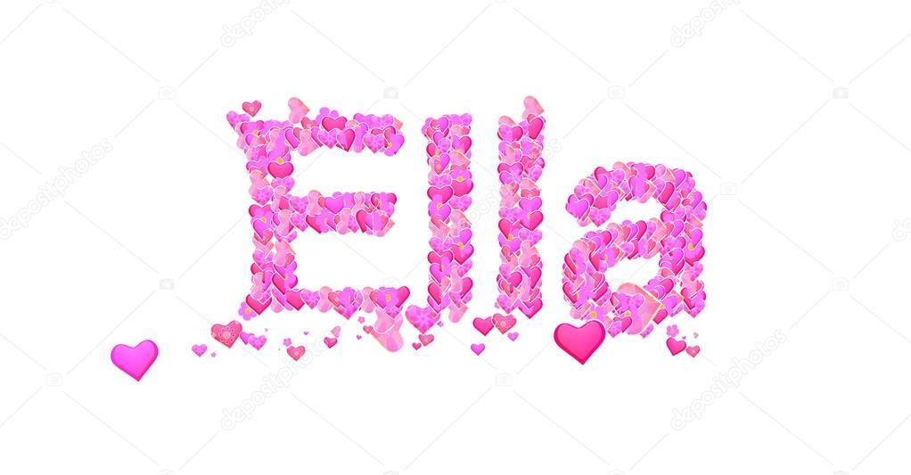 Nombre De Mujer Ella Con Corazones Tipo Diseño Foto De Stock
