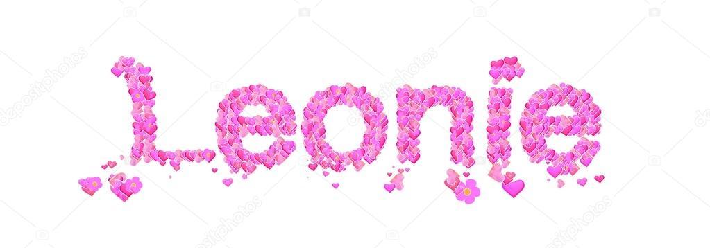 Leonie female name set with hearts type design — Stock Photo