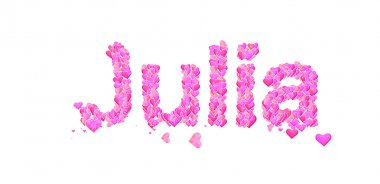 Julia female name set with hearts type design