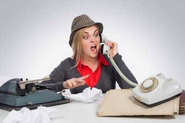 Office, business,detective concept-Angry Business Woman shouting