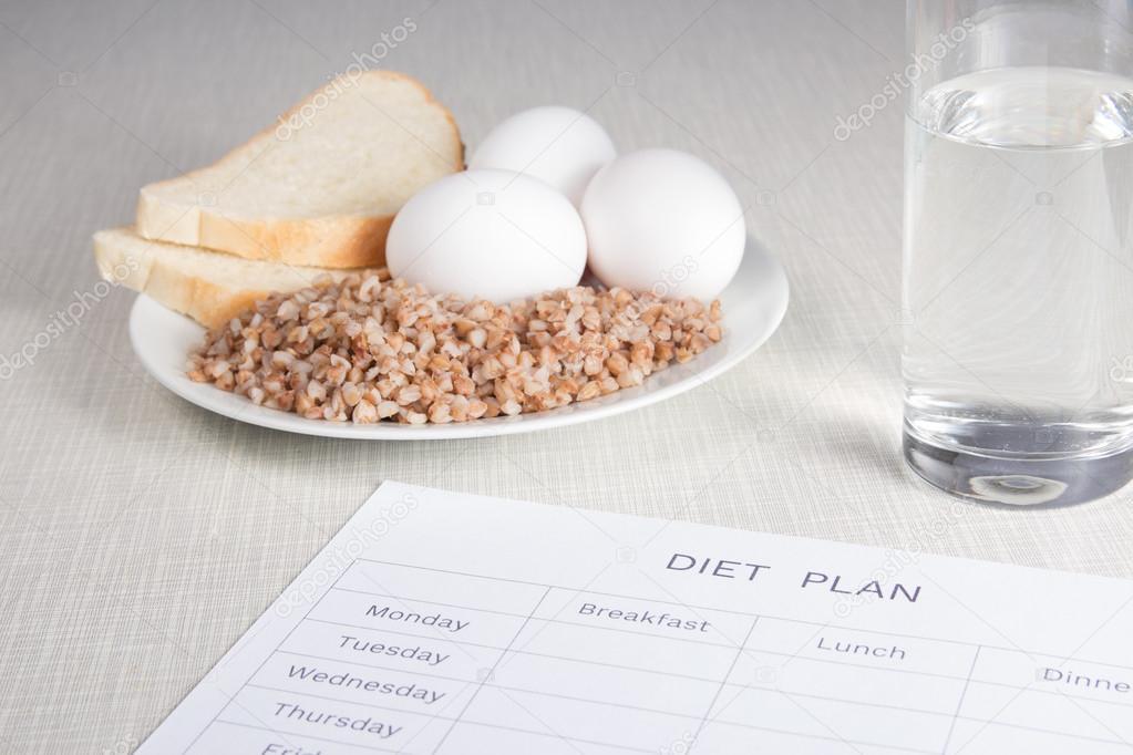 Notebook With Buckwheat Bread Eggs And Water Stock Photo C Bashkatov Igor Rambler Ru 96498644
