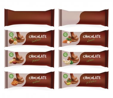 Vector Brown Blank Food Packaging For Biscuit, Wafer, Sweets, Chocolate Bar, Candy Bar, Snacks . Design Template. Chocolate Bar with Nuts Collection Templates. Isolated On White Background.