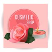 Fotografie Cosmetic Shop with Candle and Rose . Template for  Cosmetic Shop, Spa Salon, Beauty Products Package, Medical Care Treatment. Invitation Cards, Vouchers, Advertisement, Business.