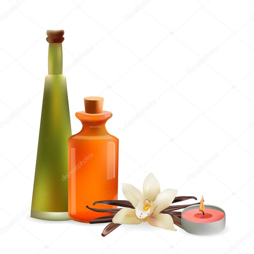 Glass Cosmetic Bottles and Candle with Vanilla Flower. Vector Isolated  Illustration. Template Elements for Cosmetic Shop, Spa Salon, Beauty Products Package, Medical Care Treatment.