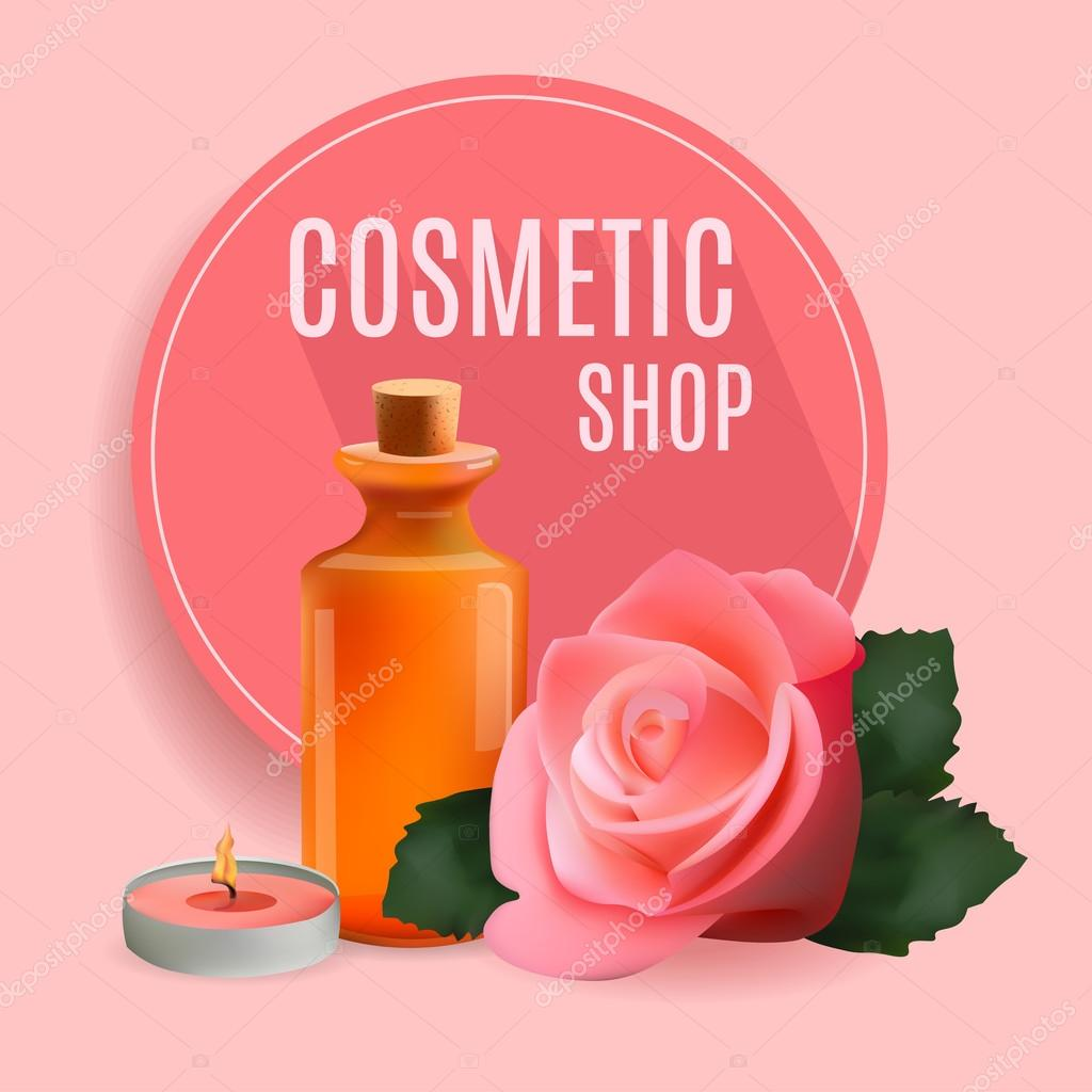 Oil Cosmetic Bottle with Candle and Rose . Template  Cosmetic Shop, Spa Salon, Beauty Products Package, Medical Care Treatment. Invitation Cards, Vouchers, Advertisement, Business.