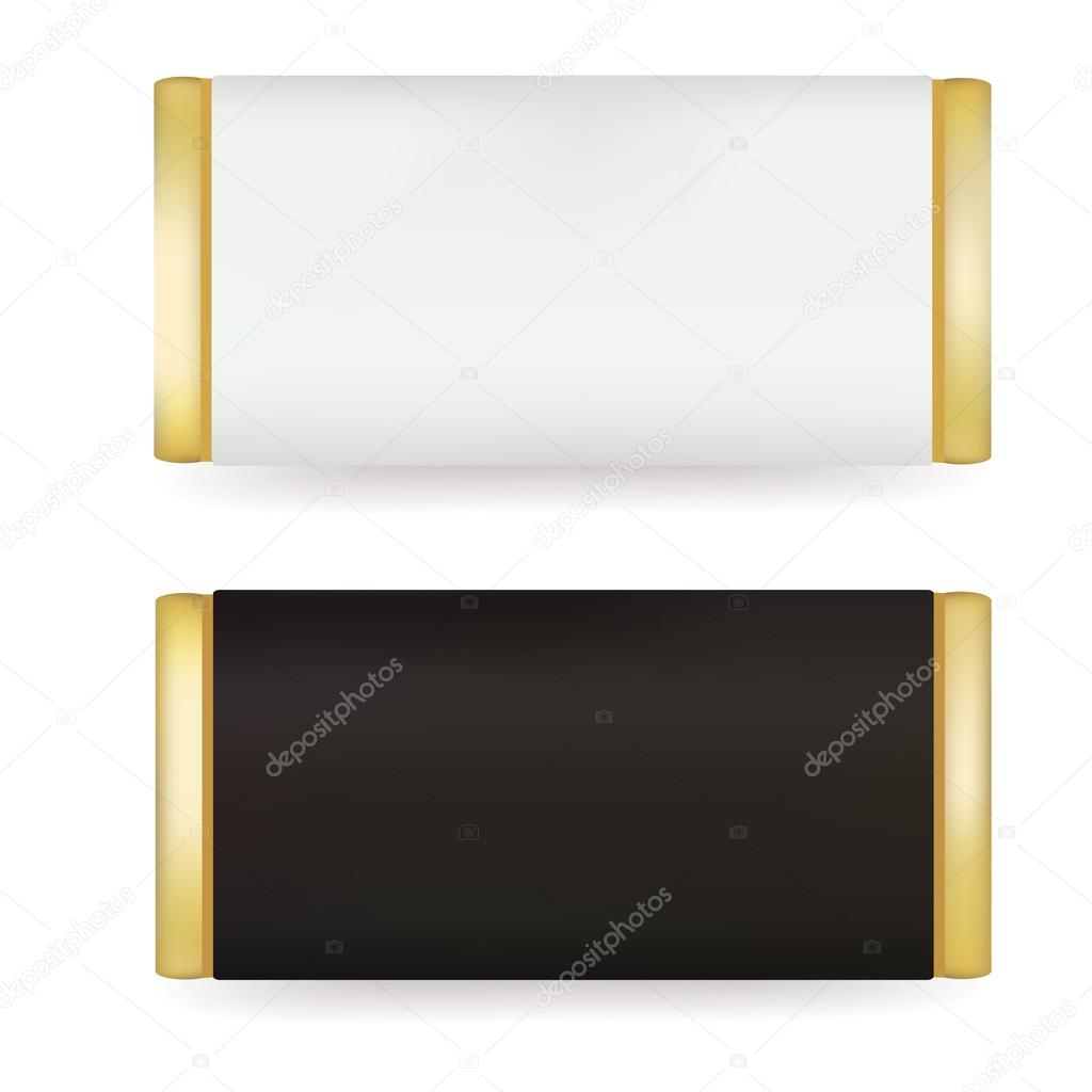 White and Black Blank Food Packaging For Biscuit, Wafer, Crackers With Blank Candy Bar Wrapper Template
