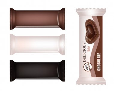 Vector Blank Food Packaging For Biscuit, Wafer, Crackers, Sweets, Chocolate Bar, Candy Bar, Snacks . Chocolate bar Design Isolated On White Background. Liquid Chocolate Heart Candy.