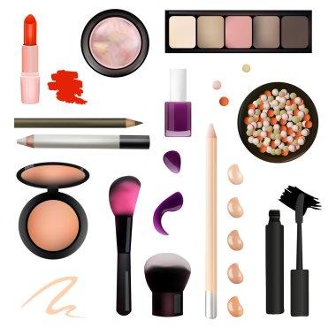 Make Up Artist Objects. lipstick, eye shadows, eyeliner, concealer, nail polish, brushes,pencils, palettes, powder. Isolated on White Background Illustration. Realistic Design.