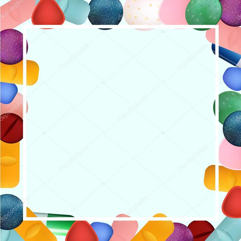 Rahmen mit verschiedenen bunten Medizin Pillen und Kapseln. Vektor ...