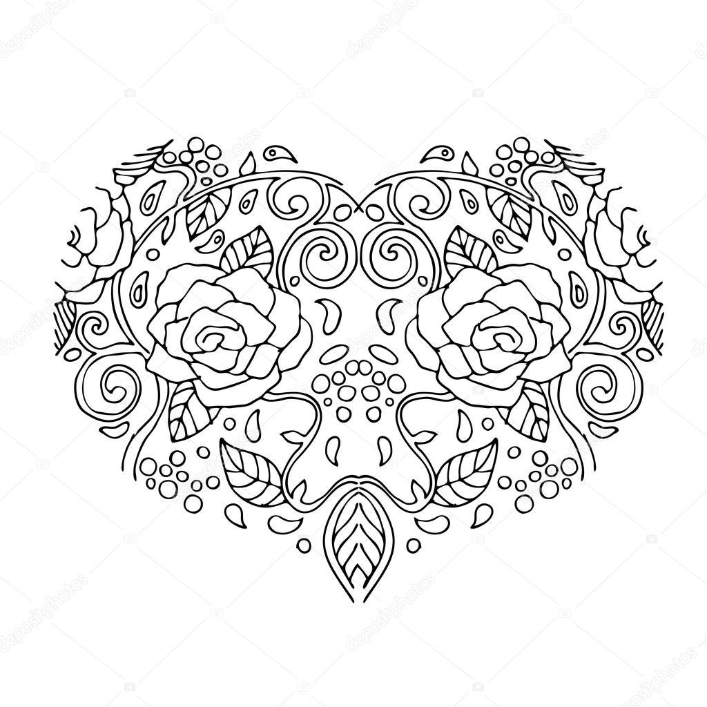 decoratieve hart met bloemen valentijnsdag kaart