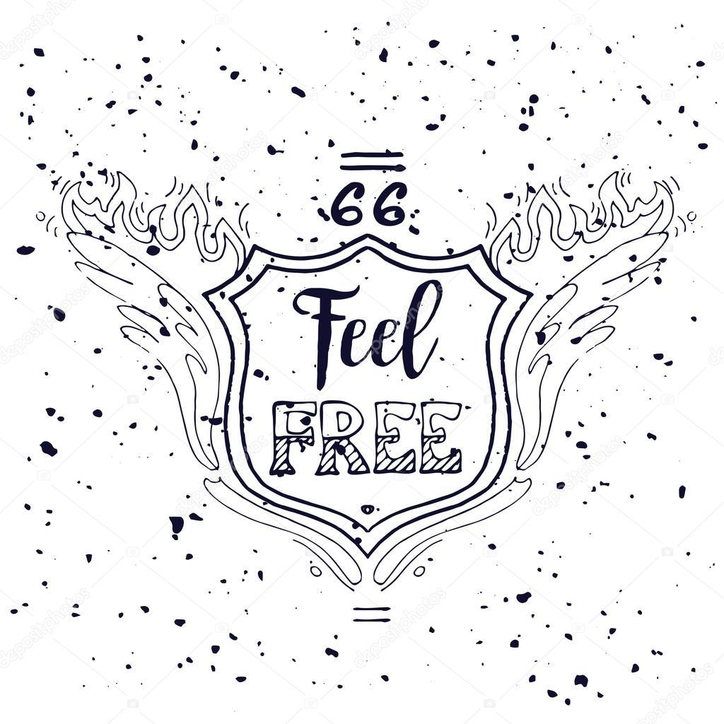 Sinta Se Livre Inscrição Motivacional Rota 66 Ilustração