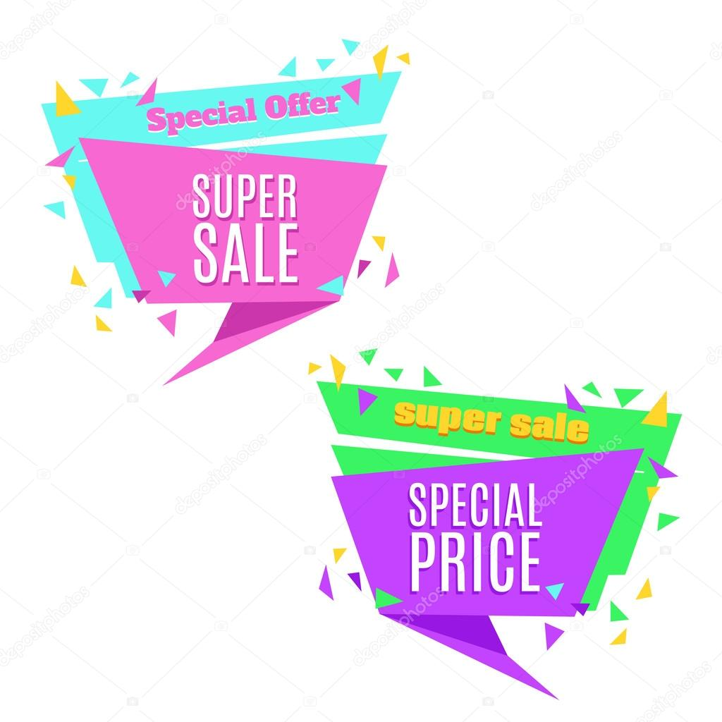 super sale and special price paper banner sale background sale tag