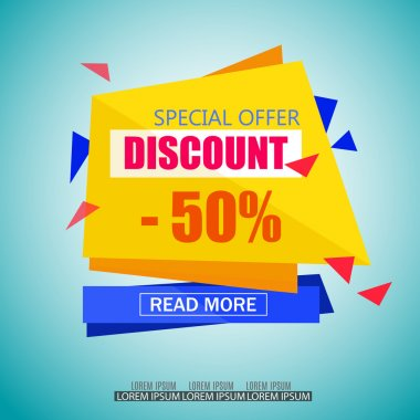 Discount Sale Paper Banner Design. Big Sale tag. Sale poster.50% off. Special Offer Tag.Sale Vector Illustration for Promotional brochure,poster,advertising shopping flyer, discount,banner.