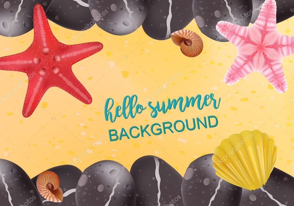 Summer holidays illustration. sea inhabitants on a beach sand. Starfish, Shell, Spa Stones. Vector Realistic Illustration.