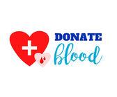 Symbol dárcovství krve. dvě srdce s kříže a krve kapky připojen a nápisy. plochá logo design. kreativní znak ilustrace izolované na bílém pozadí