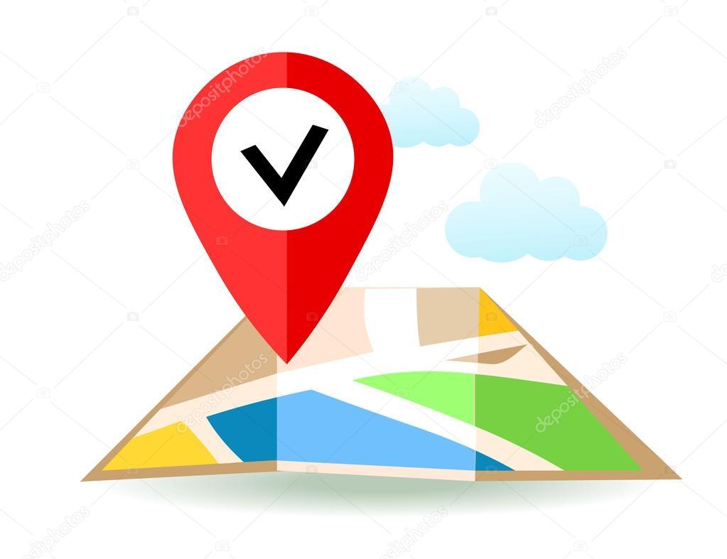 Mapa De Localização De Pontos De Vetor Localização De: Mapa Plano Com Pino. Ícone De Ponteiro De Localização