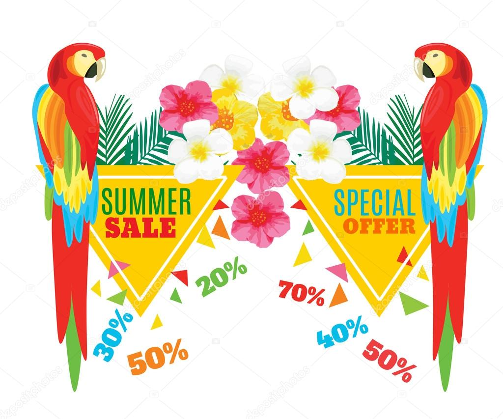 Summer Hot Sale Poster. Parrot, Exotic Flowers and Pineapple. Vector geometric promotional illustration.