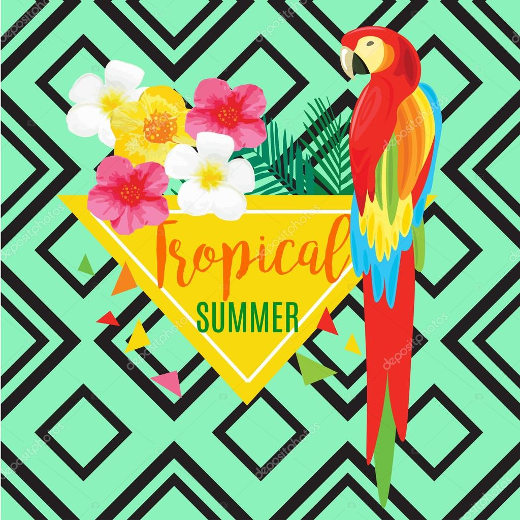 Parrot, Exotic Flowers. Vector geometric illustration with Black stripes. Tropical Summer Poster.