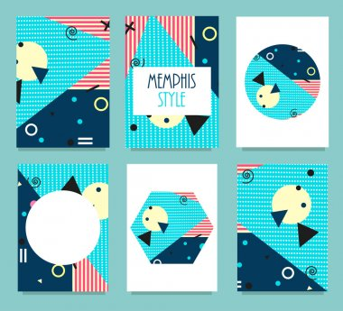 Set of Memphis Style Cards with Geometric Elements. Typography for Postcards, Banners, Reports, Posters. Covers for Books, Magazines, Invitations. Bright Color Hipster Background. Vector Illustration.