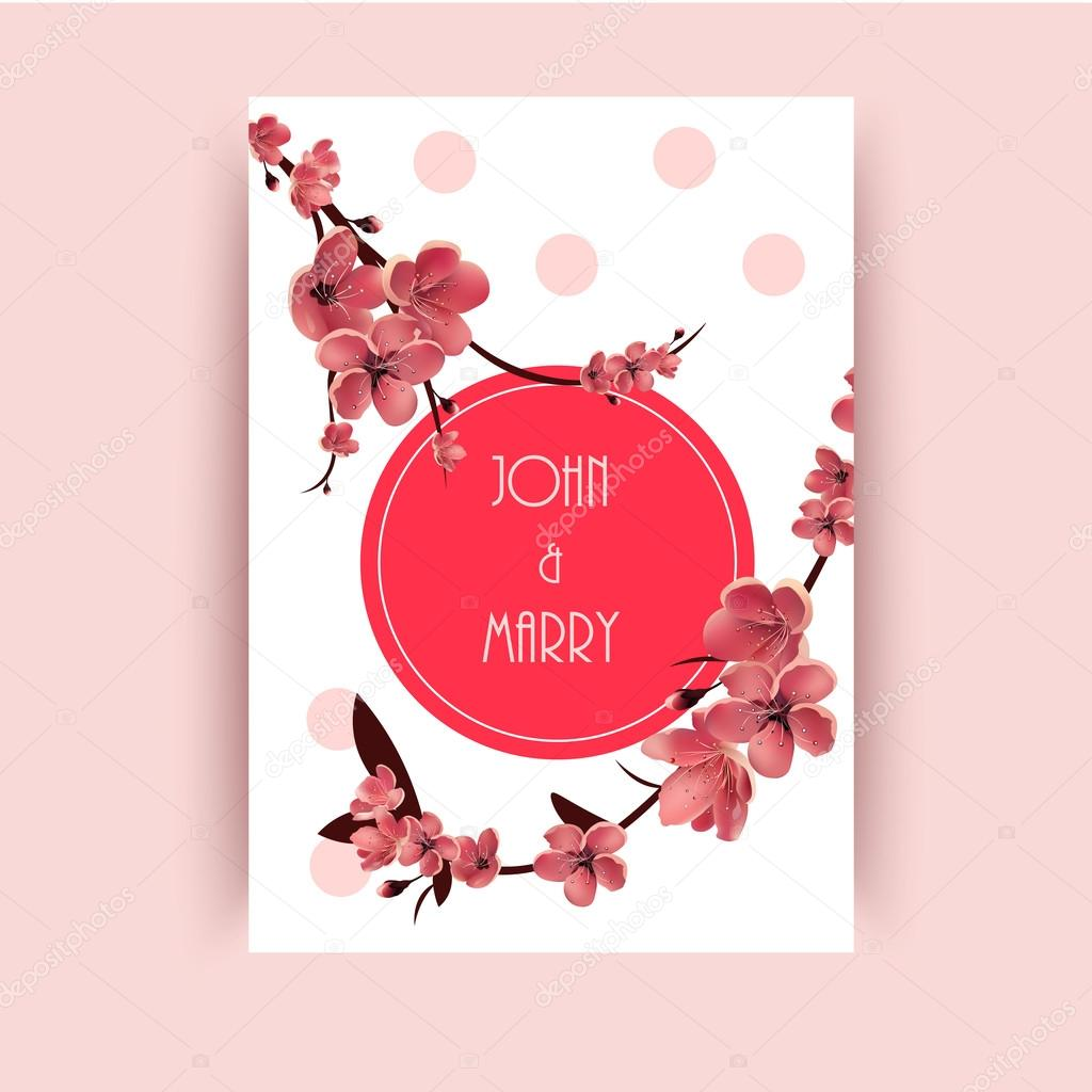 Sakura, Cherry Blossoming Tree Vector Background Illustration ...