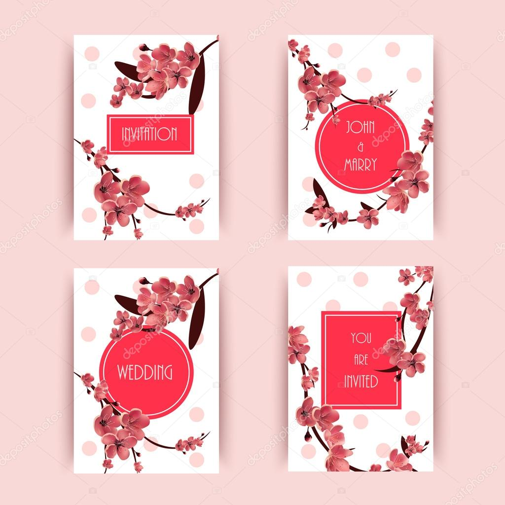 Sakura, Cherry Blossoming Tree Vector Background Illustration. Set ...