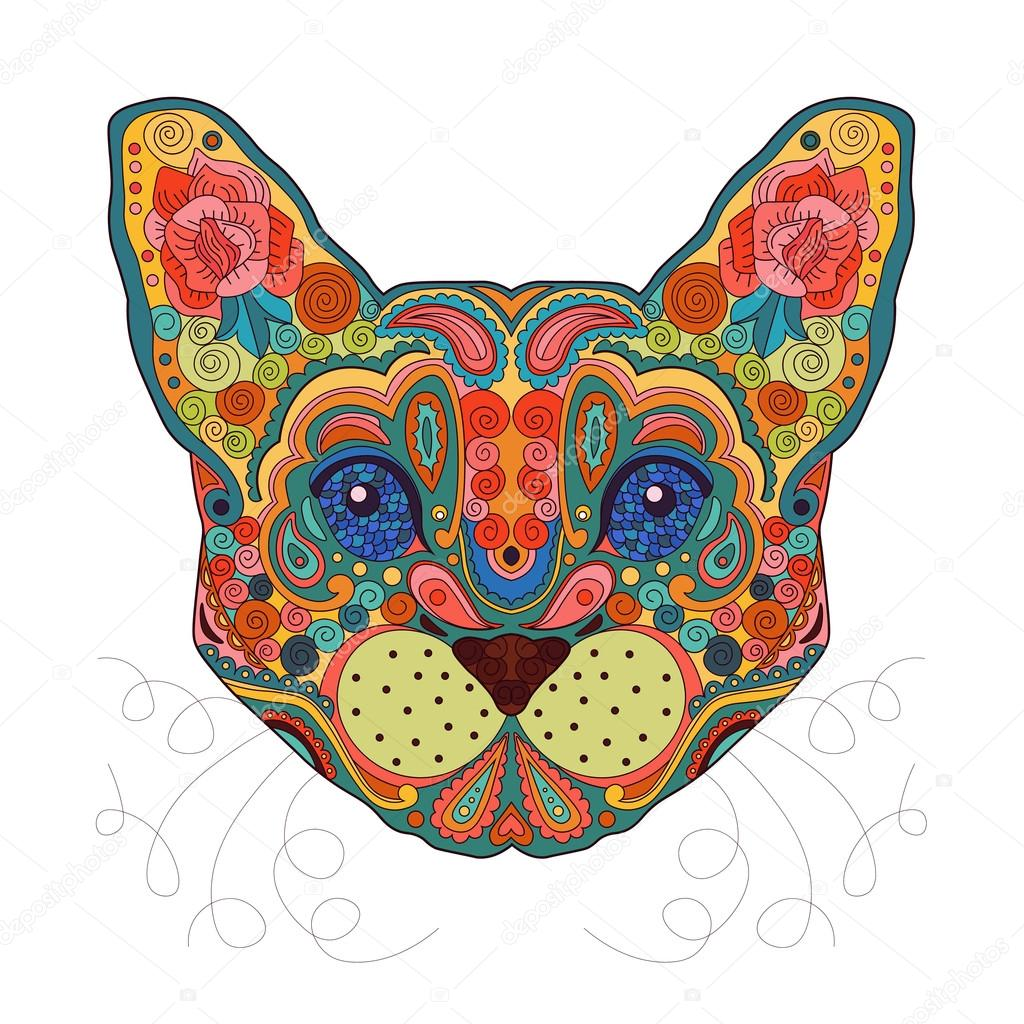 HandDrawn Egypt Cat Head Painted Doodle Animal Vector Illustration Sketch For Tattoo Poster Print Or T Shirt Relaxing Coloring Book Adult