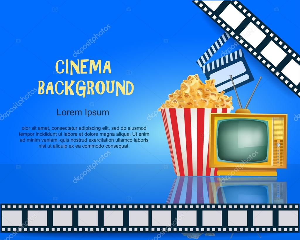 Realistic Cinema Background Movie Premiere Poster Template Banner With TV Popcorn Clapper And Film Vector Detailed Illustration On Blue