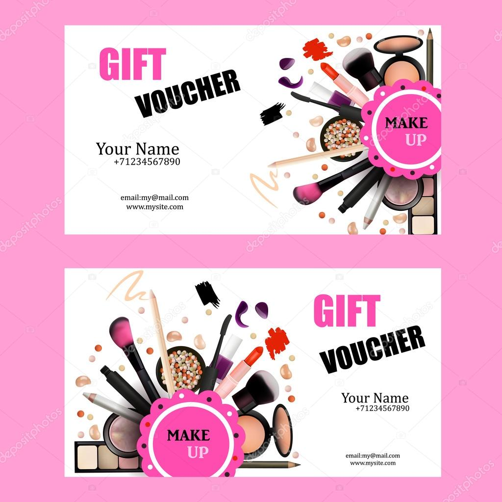 Gift Voucher Card Design Set Cosmetic Products For Make