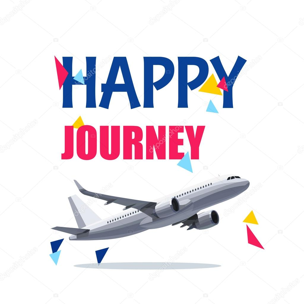 flying air plane with happy journey header wishes for a good trip