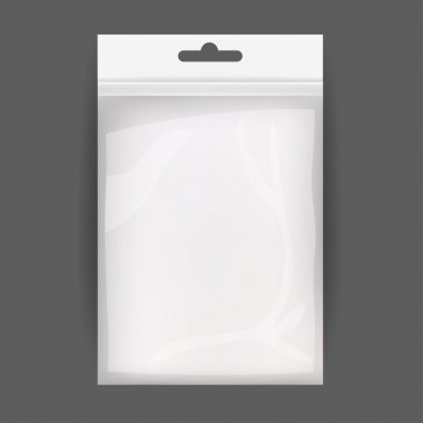 White Blank Plastic Realistic Pocket Bag. Hang Slot. Vector Illustration Isolated . Mock Up Template Ready For Your Design.