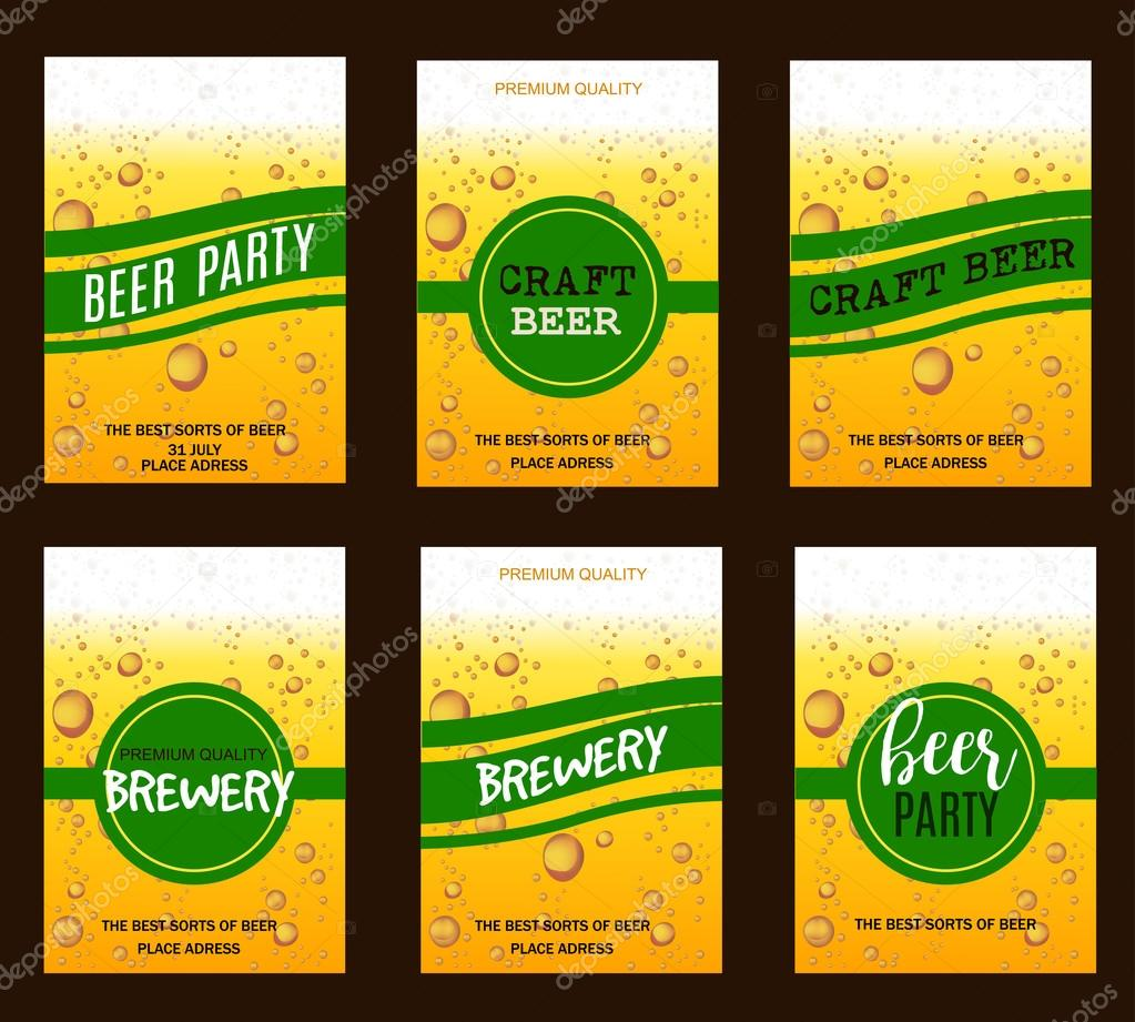 Flyer set with beer drops for brewery craft beer beer party flyer set with beer drops for brewery craft beer beer partyinvitation posterbusiness card vector illustration vetor por sunnyred reheart Choice Image