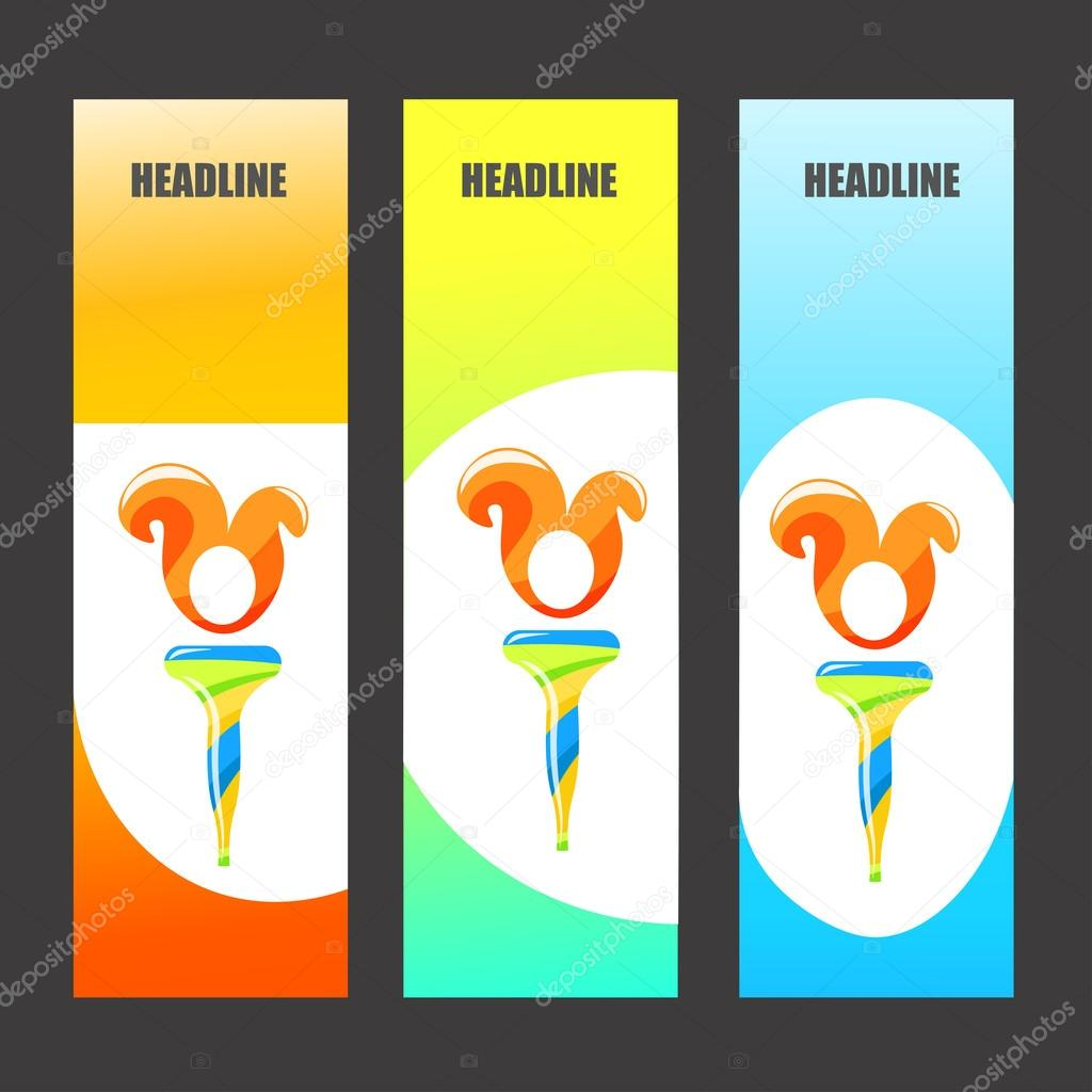 Colorful Olympic Brochures And Banners Brazil Colors Torch With