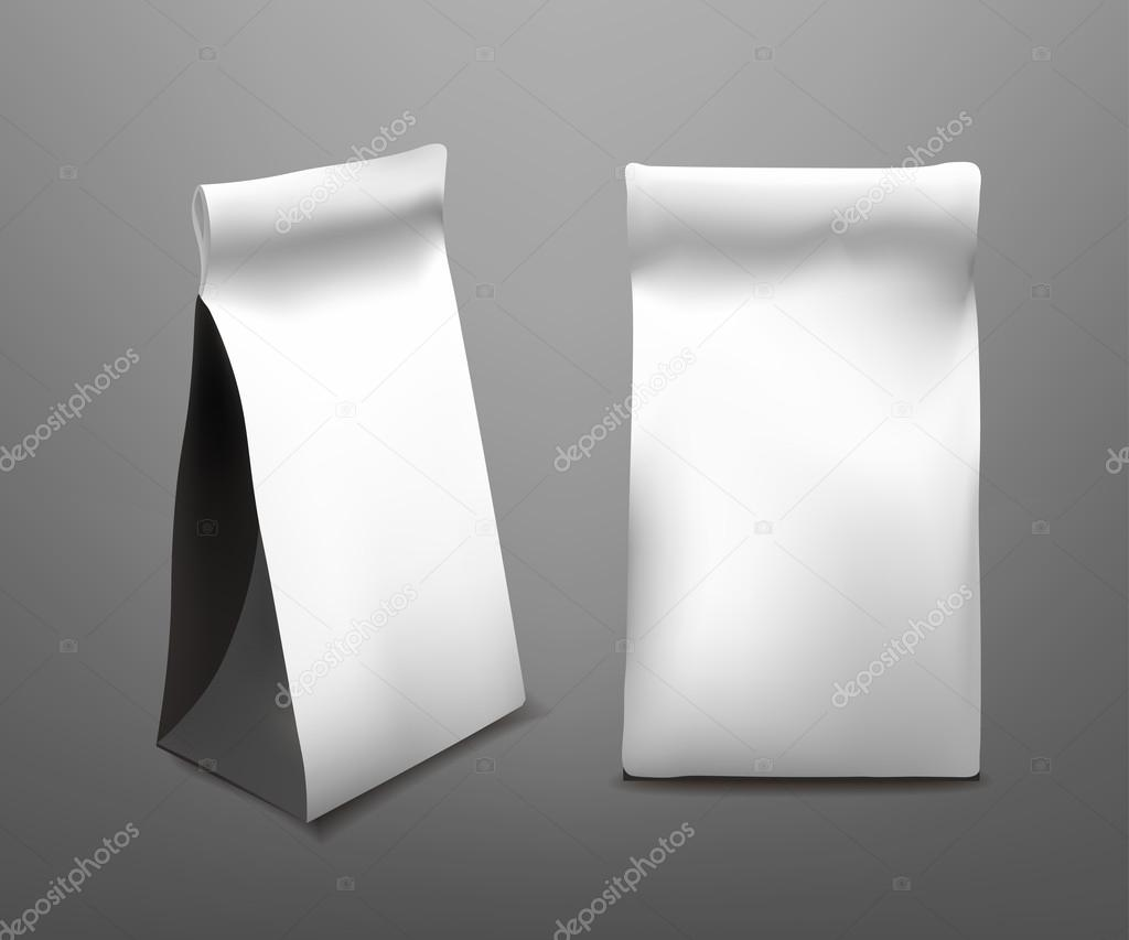 White Paper Food Bag Package For Coffee, Tea, Snacks ...White Paper Bag Vector