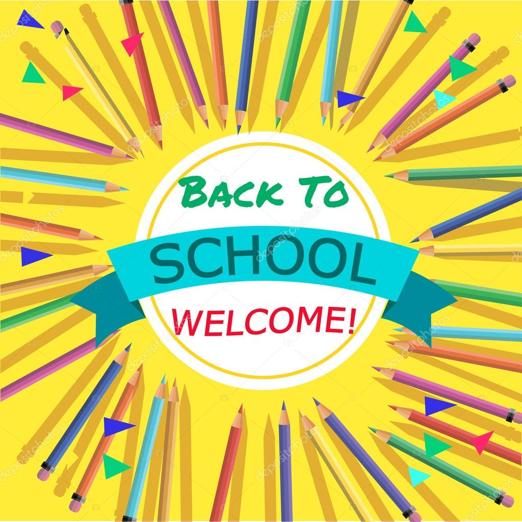 Back To School Background With Colorful Pencils With Header