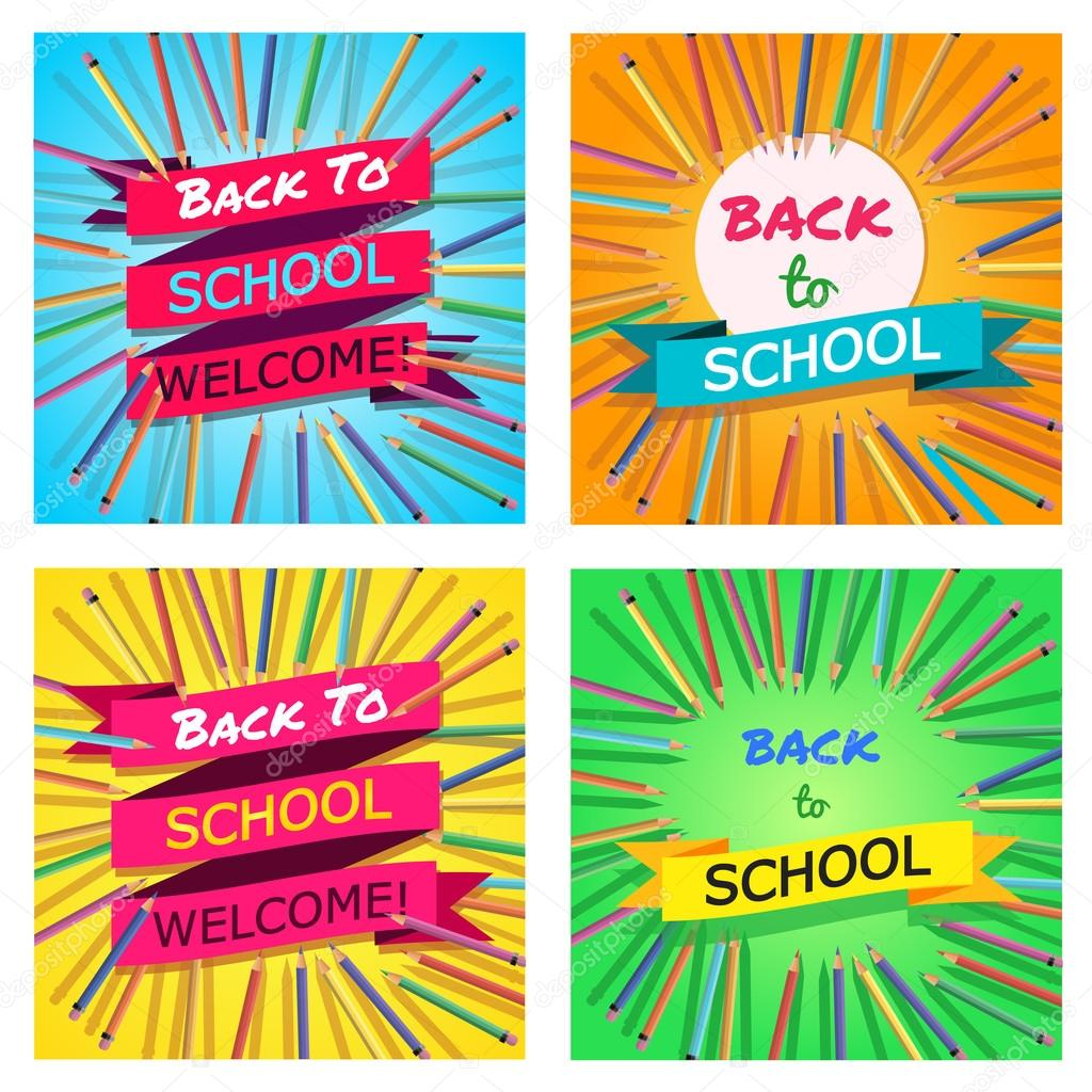Back To School Set Background With Colorful Pencils With Header - Welcome brochure template