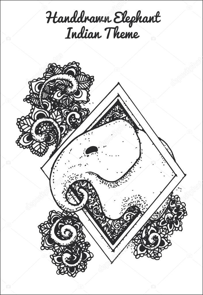 hand drawn illustration of indian elephant