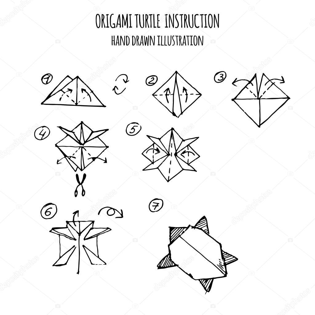 El çizimi Kaplumbağa Origami Adım Adım çekilmiş Stok Vektör